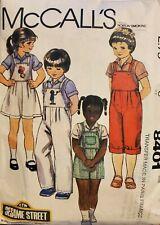Vtg McCall's pattern 8401 Child Shirt, Jumper, Overalls sz 6 Sesame St transfer
