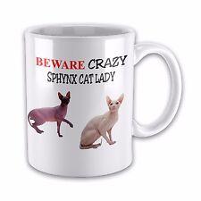 Beware Crazy SPHYNX CAT LADY Funny Novelty Gift Mug