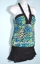 Island Escape Swimsuit 2-PC Size 10 Halter Tankini Ruffles Skirt Set NWT