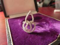 Schöner 925 Silber Ring  Zirkonia Wie Diamant Funkelnd Hoch Flamme Auffällig