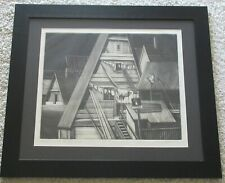 WIESLAW DEMBSKI POLISH MODERNISM ROOFTOP COMPOSITION LARGE ETCHING MUSEUM ARTIST