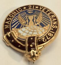 Vintage Masonic 21 Veterans 1872 Gold Pin (j491)