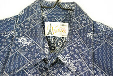 Vintage 70s Voila Eiffel Tower Button Up Paisley Shirt Blue Mens M Disco Hippie