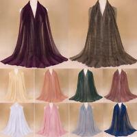 Women Scarf Women Pleat Shimmer Elastic Long Crinkle Hijab Shawls Stole Wraps