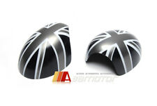 Grey Union Jack Side Mirror Covers for Mini Cooper R55~R61 Power Fold Mirrors
