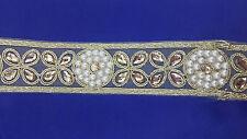 Beautiful Gold Bridal Lace Trim Ribbon Sewing Craft Wedding Saree Border 1 Yard