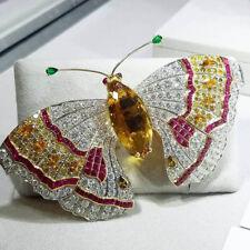 4.91CT NATURAL DIAMOND 14K WHITE GOLD GEMSTONE WEDDING BUTTERFLY BROOCH