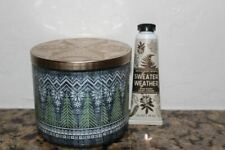Bath & Body Works Sweater Weather 3 Wick Candle & Hand Lotion~Winter~
