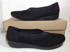 Clarks Women's Size 10 Everlay Eve Black Nubuck Leather Slip On Flats ZH-795