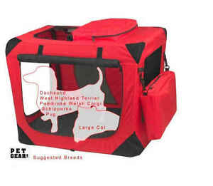 """Pet Gear Generation II Deluxe Portable Soft Dog Cat Pet Crate Carrier Red 27"""""""