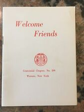 """Order Of The Eastern Star Welcome Friends Booklet Centennial Chapter 4"""" X 6"""""""