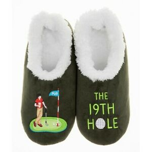 Golf 19th Hole Mens Snoozies Slippers Sherpa Fleece Non Slip Dad Grandad Gift