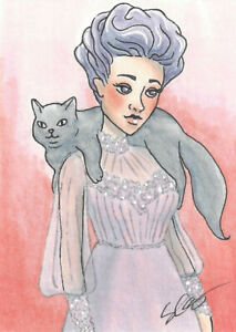 ACEO Original Ink and Copic Marker - Edwardian Inspired Woman and her Cat