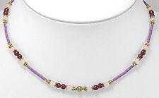 """17""""-19"""" Garnet and Pink Rose Quartz Brass Purple Necklace Statement Piece"""