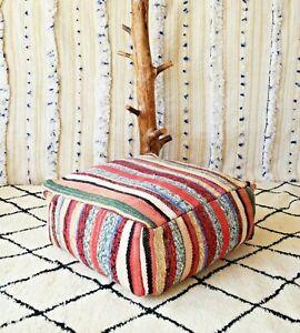 Moroccan red kilim pouf, Vintage red kilim Pouf, berber red pouf, square pouf