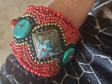 Turquoise Gemstone Bead  Beaded Bracelet Handmade WIDE FABULOUS  Cuff