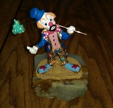 RONALD LEE 1987 CREATIVE CONCEPT HAND PAINTED SIGNED HOBO CLOWN ONYX 24KT GOLD