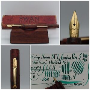 Vintage Mabie Todd Swan SF1 Fountain Pen 14K Gold FLEX Nib WOODGRAIN DESIGN