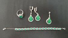 Italian Silver Jewelry Set Bracelet, Earrings, Ring & Pendant Green Emerald 925S