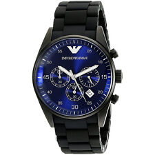Emporio Armani AR5921 Sportivo Blue Dial Chronograph Black Silicone Mens Watch