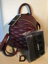 DKNY Donna Karen Mulberry Purple Quilted Leather Bag Backpack Rucksack Style NEW