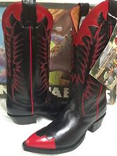 Nocona Western  Leather Boots Women's 8101 Black with Red Tip Size 4.5 B NEW