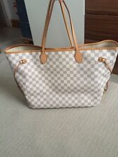 Louis Vuitton Damier Azur Canvas Beige Neverfull GM Tote 100% GENUINE
