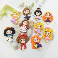 10 pcs Resin Cartoon Pretty Girls Craft Flat Back Princesses Decorations 2-3cm
