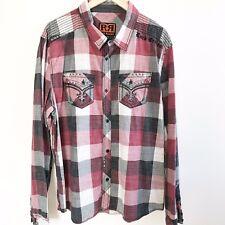 Rock Revival Plaid Mens The Buckle Red Black Button Dress Shirt XXL 2XL