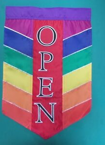 "Open Rainbow Chevron Flag for Shops, 11"" x 14"""