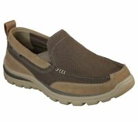 Slip On Skechers Brown Extra Wide Fit Shoe Men Comfort Casual Suede Loafer 64365