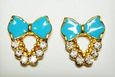 Blue Bow Enamel Effect Stud Earrings Gold Tone 10 x 15mm