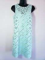 J Crew Dress 2 Mint Green Sleeveless Lined Laser Cut Outs Womens y