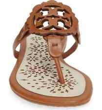 NIB Tory Burch Miller Leather Scallop Logo Flat  Sandal Thong Tan/Cream $228
