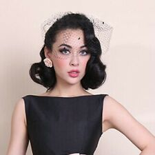 Black Retro Dot Birdcage Veil Wedding Bridal Headpiece Mesh Voile Fascinator New