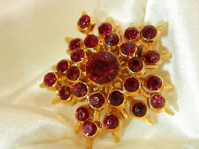 WOW FAAAB Vintage 60's Sparkling Dainty Deep Ruby Red Star Flower Brooch 188jl7