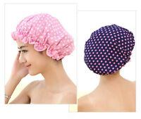 2Pcs Women Polka Dot Shower Cap Bath Shower Hair Cover Waterproof Bathing Cap US