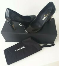 Chanel Court Shoes Black Patent Leather 37.5