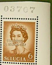 ST LUCIA 1967 UNISSUED 6c. DEFINITIVE OVPRT STATEHOOD IN BLACK - MNH