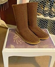BROWN KNITTED UGG BOOTS  -  SIZE 37.5