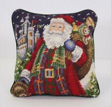 """Santa Claus Vtg Toys Castle Christmas Eve Wool Needlepoint Pillow Mini 9"""" Throw"""