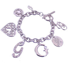 Guess Bracelet Silver Crystal Heart Charm Logo G Gift Jewelry