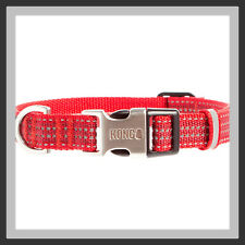 KONG Premium Shades of RED & Silver Reflective Stitching Dog Collar SMALL