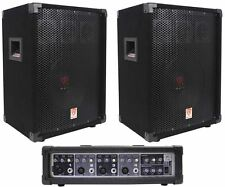 "New Peavey PVI4B 4 Channel Powered Mixer + (2) 10"" Rockville PA Speakers"