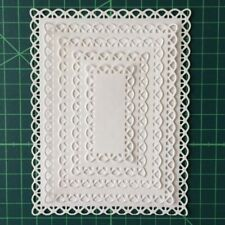 Nested Stitched Scallop Rectangle Frame Metal Cutting Dies Paper Card Scrapbook