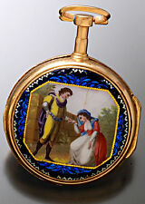 Antique Gilt Verge Fusee Enamel Case Fancy Painted Dial Pocket Watch with Keys