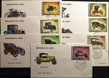 Congo Brazzaville 1968 154-60 174-78 c67-68 AUTOMOBILE OLD CARS AUTOMOBILI FDC