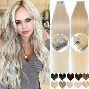 Tape In Blonde Hair 100% Remy Human Extension Seamless Skin Weft Full Head Long1