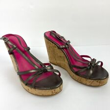 Boden Wedge Sandals Ankle Strap Brown Leather Cork Womens Size 8 Pink Lining 39