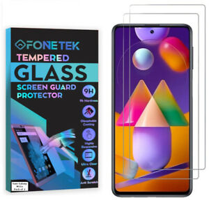 2 PACK Samsung Galaxy M31s TEMPERED GLASS Clear LCD Screen Protector Guard Cover